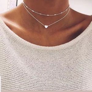 925 SILVER 2 TIER, LAYER HEART CHOKER, NECKLACE